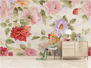3d room wallpaper custom photo mural Nordic modern watercolor flowers blooming rich peony small fresh TV background wallpaper for walls 3 d