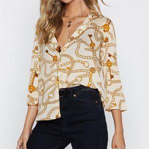 Женские блузки Рубашки Женщины Цепь Печать Летний Досуг Блуза Отверните Воротник Офис Свободные Повседневные Топы Blusas Chemise Femme Plus Размер