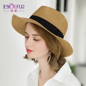 ENJOYFUR mujeres del verano de la playa de sombreros manera ocasional Panamá sombrero de paja unisex de Protección Solar Cap nueva llegada plegable Marca sombrero femenino