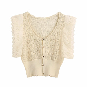 new women fashion hollow out lace embroidery patchwork knitted casual slim thin sweater ladies sweet buttons sweater tops S257
