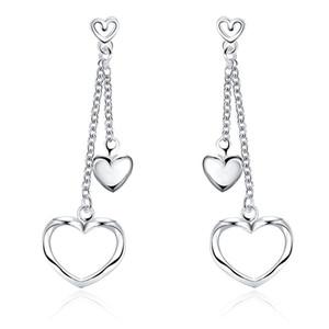 Plated sterling silver Everlasting Heart Shaped Openwork Tassel Earrings DJSE651 size 5.8x1.8CM; women's 925 silver plate Ear Cuff earring