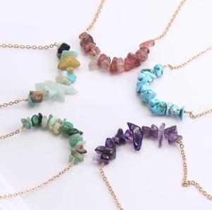 Новый артистический ручной работы Природный камень ожерелье для женщин Красочные Золото медного провода ожерелье подарка ювелирных изделий способа