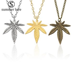Neue Ankunfts-Baum-Blatt-Halskette für Frauen Männer Boho 3 Farben Maple Leaf Ketten lange Goldkette Charm Hip Hop Valentinstag Schmuck-Y
