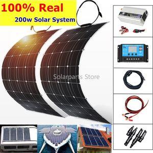 Sistema do Painel real Classificado 200W 5V / 12V Solar 2pcs 100W semi-flexível Solar Painel 20A Carregador Controlador 1000W inversor USB MSolar Poder Kit