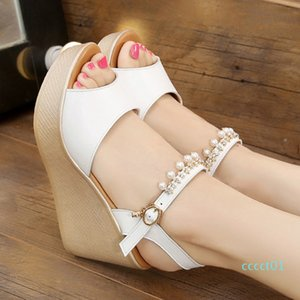 2018 New Casual White Shoes Women Brand Wedges Sandals Pearl Sexy Lady chaussure Summer Footware Breathable Fish Mouth ct01