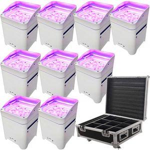 10pcs App controllo uplighting Hex 6 * 18W 6in1 LED UV RGABW Batteria proiettore luce par del LED per il matrimonio con la copertura della pioggia