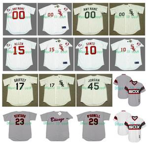 Vintage Chicago Jersey del Ken Griffey Jr.. Bo Jackson Paul Konerko RICHIE ALLEN Ron Santo Wilbur Wood Frank Thomas Mark Buehrle Retro Baseball