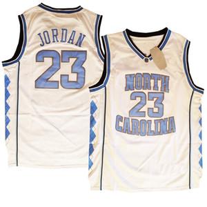 Mens North Carolina Unc Tar Tacchi Michaeljordan # 23 Basket Blackback Jersey Doppio Scheded Alta Quanlity Poliestere Bianco Blu