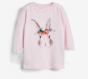 Kids cartoon rabbit pattern T-shirt 2020 Fall New children round collar long sleeve long tee girls cotton princess tops A3384