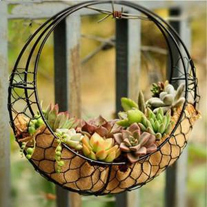 28cm Fer Lune Forme Succulent Pot Métal Suspendu Planteur Plante Holder panier 100% à la main sur une clôture arbre mur