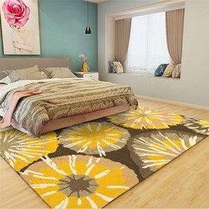 La manta de área de petróleo Sala de estar amarilla Pintura Abstracta patrón de flores Alfombra Alfombra zona de dormitorio nórdico decoración del hogar del bebé