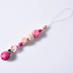 4 Colors Baby Clip Chain Holder Wood Beaded Pacifier Soother Holder Clip Nipple Teether Dummy Strap Chain ZZA1894