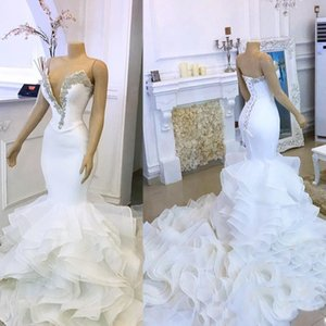Tiered Ruffles Long Sexy Bridal Gown Sexy Plunging V Neck Mermaid Wedding Dresses Crystals Beaded Plus Size Bride Dress