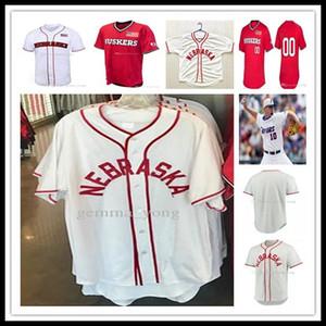Baratos personalizadas Nebraska Cornhuskers Esportes universitários Camisetas masculinas Womens Crianças Bordado Baseball Jerseys Tamanho S-4XL frete grátis Hot Sale
