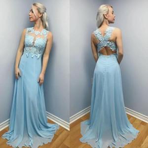 Superbe mousseline de soie Une ligne Robes de bal Jewel Illusion dos ouvert balayage train Parti robe de soirée élégante Special Occasion Dress