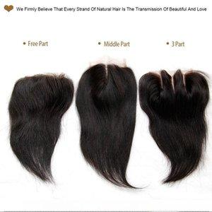 H Grade 6a Peruvian Straight Lace Closure Virgin Human Hair Top Swiss Lace Closures 4x4 Size Free Middle 3 Way Part Peruvian Lace Closu