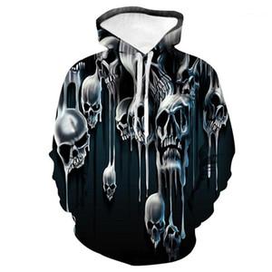 Casual machos e fêmeas Vestuário New Arrival Casais Crânio 3D Digital Designer Moletons Longs luva Hoodies