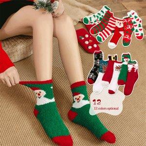 12 pares / lote calcetines de navidad 12 estilo grueso toalla coral calcetín de terciopelo mujer muchacha cálida terciopelo navidad almacen de piso dormir calcetín borroso kjy922