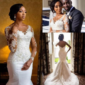 2019 African Mermaid Wedding Dresses Sheer Scoop Neck Long Sleeve Tull lace Applique Beades Plus Size Wedding Bridal Gowns With Lace Up Back