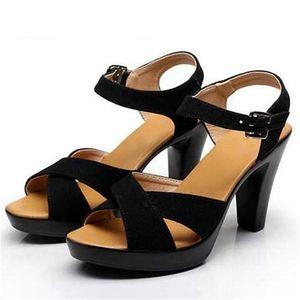 Zapatos vendedores calientes 2020Top mate de cuero de vaca zapatos abiertos Mujer Sandalias Negro de cuero genuino mujeres de las sandalias Tamaño 33-43 sandalias de tacón alto