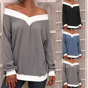 Mulheres Strapless Knit Sweater Primavera Outono manga comprida Casual Knit Famale cor hit Top