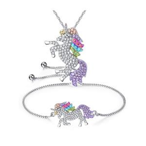 Vendita calda donne ragazza cartone animato unicorno cavallo collana pendente di cristallo braccialetto set gioielli di natale regalo bello