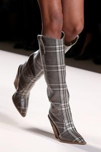Frauen Fashion Runway Party Kleid Schuhe Krokodil Geprägte Stiefeletten Spitz Strage Heel Ritter Damen Keil Stiefel Größe 34-43