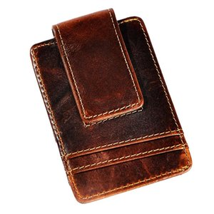Male Quality Leather Fashion Travel Slim Wallet Front Pocket Magnetic Money Clip Mini Card Case Purse For Men 1058C