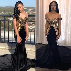 2019 Elegant Black Gold Metal Appliqued Mermaid Prom robes réfléchissantes à l'épaule Black Girls formelle soirée robes de soirée BC0986