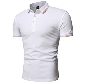 Slim Polos Summer Designer Solid Color Short Sleeve Panelled Tshirts Males Casual Clothes Mens Plus Size