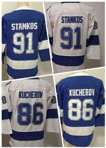KID Winter 2019 Фанатики персонализированные 86 KUCHEROV 91 STAMKOS Хоккейные майки, Скидка Дешево купить Спортивный фанат одежды Джерси, интернет-магазин