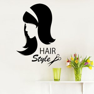 Beauty Salon Wall Sticker Beautiful Girl Hairdressing Style Wall Decals Removable Murals Decoration