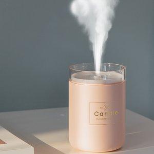 Ultrasonik Hava Nemlendirici Mum Romantik Yumuşak 280ml Işık USB Difüzör Araç Arıtma Aroma Anyon Mist Mak