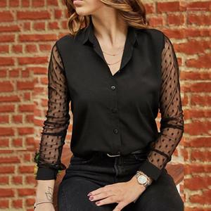 Женские топы Весна женщин черный марлевые рубашки See Through с длинным рукавом Женские Блузки Solid нагрудные шеи моды