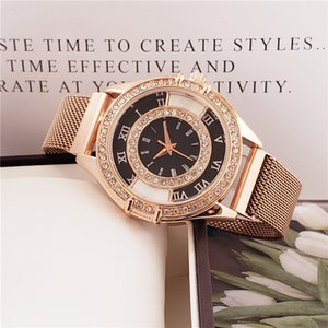 Suizo Marca oro y diamantes rosa forman la venta caliente de lujo de lujo de la correa de malla diamante moldeado brillante Mujer diseñador de relojes de lujo