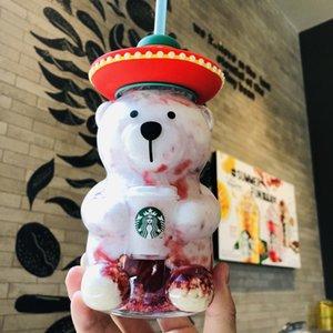 새로운 스타 벅스 북미 스타일의 멕시코 베어 유리 빨대 커피 컵 503ML 투명 차가운 물 잔에서 차 문 동반 컵 아웃