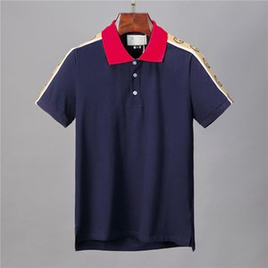 20ss İtalya Marka polo gömlek Lüks t shirt yılan arı çiçek mens polos Yüksek sokak moda şerit baskı polo tişört t5887 tasarımcıları