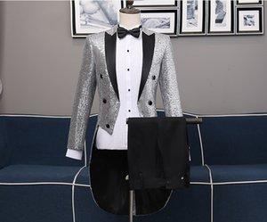 남자 성인 Sequined Swallowtail Clothes Two-piece Suit 버라이어티 나이트 클럽 바 마술사 Performing Stage Chorus Costume