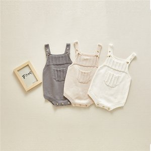 Newest Toddler Baby Boys Girls Rompers Front Pocket Design Autumn Infant Knitting Jumpsuit Kids Girls Sweater Bodysuit Babies Oneise 0-2T