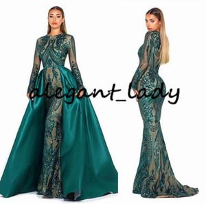 Scarlett Mermaid Evening Pageant Dresses with Detachable Overskirt Train 2019 Emerald Green Muslim Dubai Long Sleeve Prom Dress