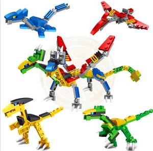 Children's puzzle assembling small particle dinosaur building blocks Tyrannosaurus Rex dinosaur four-in-one two-change dinosaur robot