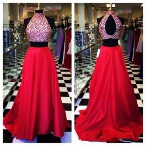 High Neck Sleeveless A-Line Prom Dresses 2019 Beaded Top Two Pieces Formal Open Back Ladies Evening Party Gowns Custom Sleeveless Cheap