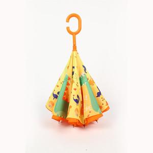 9style Çocuk Karikatür Hayvan Şemsiyeler Çocuk C Tipi Ters Şemsiye Çift Katmanlı Rüzgar kesici Şemsiyeler Açık Balıkçılık Şemsiye GGA3534-2