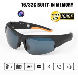 La cámara HD 1080P gafas de sol con puerta de Bluetooth MP3, reproductor de 16GB 32GB Lentes Mini DV DVR Sale Gafas grabador de vídeo digital