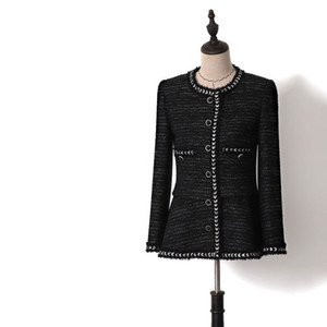 Women Vintage Color Block Patchwork Twist Tweed Short Coats O-neck Single Breasted Slim Jackets 2019 Spring Autumn