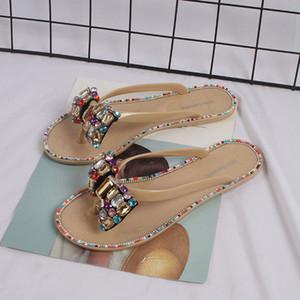 Новые женщины Cute Вне Non Женщины Женщины Bohemia Bowknot льняное белье Вьетнамки Пляжная обувь Сандалии Трусы Zapatos De Mujer # G30