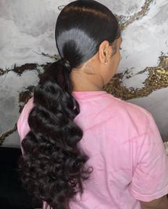 Capelli naturali ricci coda d'onda coda di cavallo ricci avvolgere Facile indossare coulisse estensione dei capelli umani coda di cavallo 100g-160g