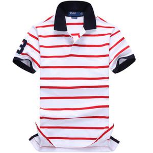 Para hombre verano diseñador Polos manera imprimió la raya camisetas de manga corta Classic camisa de polo para hombre ropa de algodón transpirable camisetas casuales