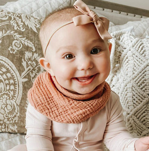 Cotton Gauze Scarf Bib Organic Cotton Bib Drool Scarf Organic Baby Bandana Scarf Bibs with Snaps 2020 INS NEW