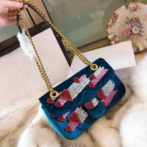 사랑 파티 가방 장식 조각 체인 크로스 바디 백 고급 명품 핸드백에 대한 Designer- 어깨 가방 핸드백 여성 유명 브랜드 벨벳 가방 블라인드